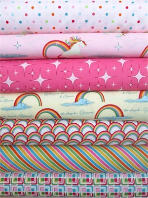 Doohikey Designs, Unicorns & Rainbows, Pink in FAT QUARTERS 7 Total