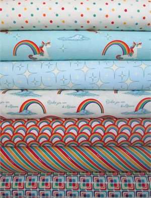 Doohikey Desings, Unicorns & Rainbows, Blue in FAT QUARTERS 6 Total