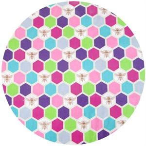 Echino Decoro, OILCLOTH, Bees Pink/Purple