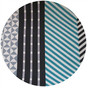 Echino, Decoro, OILCLOTH, Nico Blue/Grey/Black