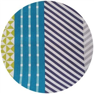 Echino, Decoro, OILCLOTH, Nico Blue/Grey/Yellow