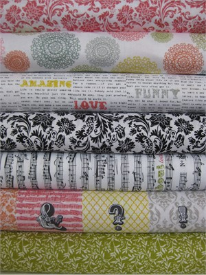 Echo Park for Andover, Love Notes, Multi in FAT QUARTERS 7 Total