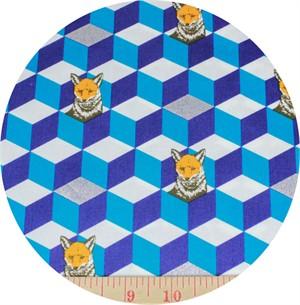 Echino, SATEEN, Huedrawer,  Fox In a Box Blue