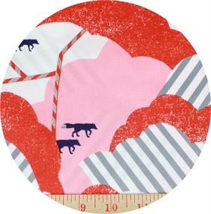 Echino, SATEEN, Huedrawer, Fox Trot Red