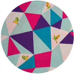 Echino, Wide Width Sheeting, Triangles Aqua/Purple