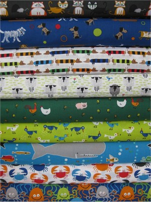 Ed Emberley for Cloud 9 Organic, Happy Drawing Too in FAT QUARTERS, 9 Total