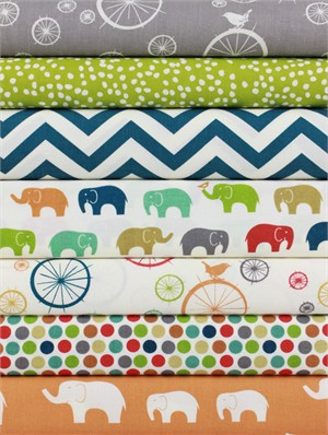 Fabricworm Custom Bundle, ORGANIC, Elephant Party in FAT QUARTERS 7 Total