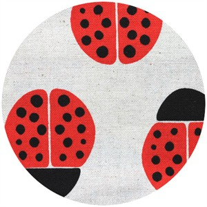 Ellen Luckett Baker for Kokka, Stamped, Ladybugs Red