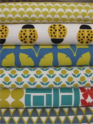 Ellen Lukett Baker for Kokka, Stamped, Yellow in FAT QUARTERS 6 Total