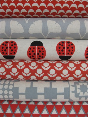 Ellen Lukett Baker for Kokka, Stamped, Red/Gray in FAT QUARTERS 6 Total