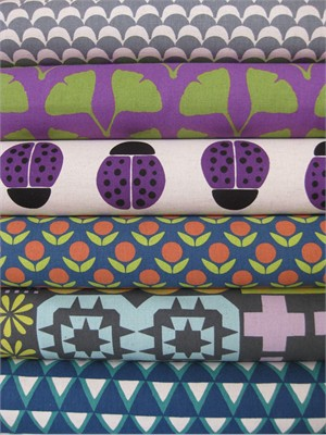 Ellen Lukett Baker for Kokka, Stamped, Purple in FAT QUARTERS 6 Total