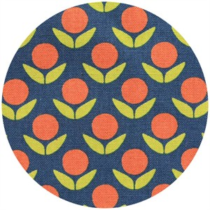 Ellen Luckett Baker for Kokka, Stamped, Circle Flowers Navy