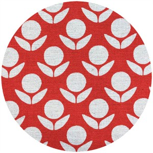 Ellen Luckett Baker for Kokka, Stamped, Circle Flowers Red