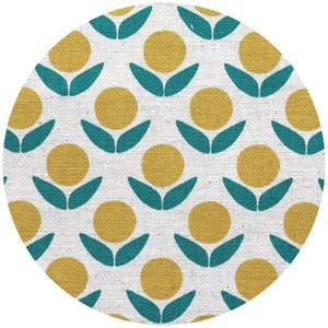 Ellen Luckett Baker for Kokka, Stamped, Circle Flowers Yellow