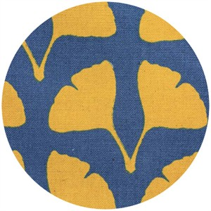 Ellen Luckett Baker for Kokka, Stamped, Ginko Leaves Blue