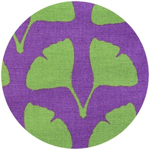 Ellen Luckett Baker for Kokka, Stamped, Ginko Leaves Purple