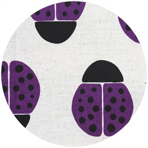 Ellen Luckett Baker for Kokka, Stamped, Ladybugs Purple