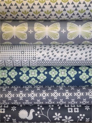 Ellen Luckett Baker, Garden, Grey in FAT QUARTERS 6 Total