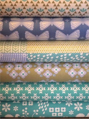 Ellen Luckett Baker, Garden, Mellow Green/Teal in FAT QUARTERS 6 Total
