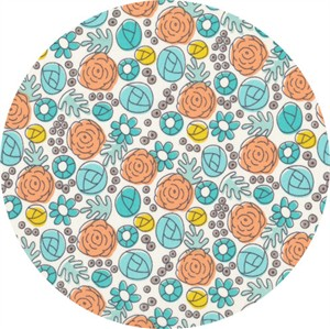 Elizabeth Olwen for Cloud9, ORGANIC,   Grey Abbey, Floral Whimsy Egg Blue