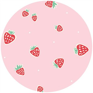 Emily Isabella for Birch Organic Fabrics, Everyday Party, Strawberries Pink