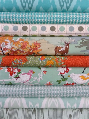Erin Michael for Moda, Lush, Sky in FAT QUARTERS 9 Total