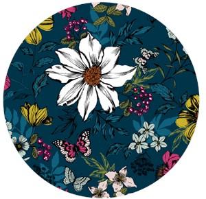 Makower UK, Botanica, Exotic Floral Pacific Blue