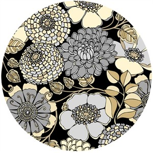 Exclusively Quilters, Shades Of Grey, Floral Bunch Black