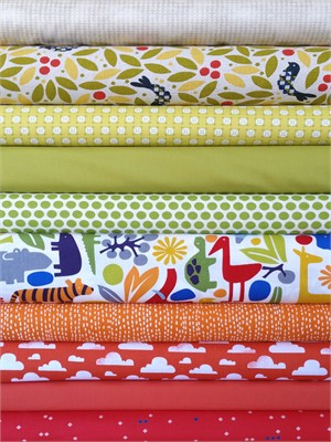 Fabricworm Custom Bundle, Primary Safari in FAT QUARTERS 10 Total (PRE-CUT)