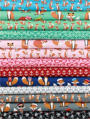 Andie Hanna for Robert Kaufman, Fabulous Foxes in FAT QUARTERS 12 Total
