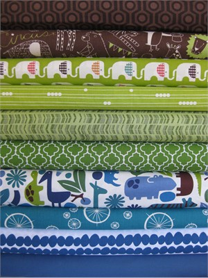 Fabricworm Custom Bundle, 2D Safari Pool v.3 in FAT QUARTERS, 10 Total