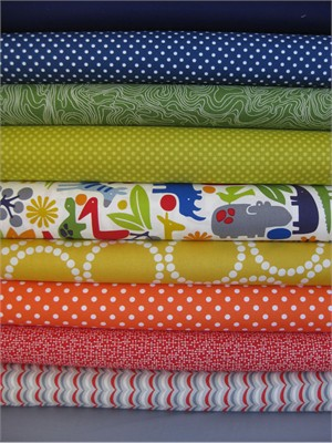 Fabricworm Custom Bundle, 2D Safari Primary v.3 in FAT QUARTERS, 10 Total