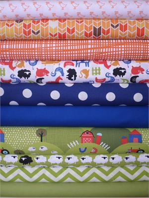 Fabricworm Custom Bundle, Animal Farm in FAT QUARTERS 10 Total(Pre-cut)