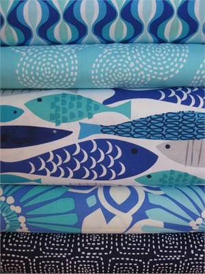 Fabricworm Custom Bundle, Aquatica in FAT QUARTERS, 5 Total