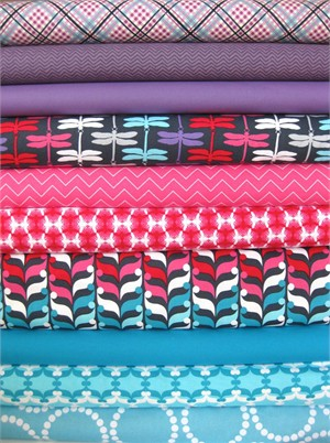 Fabricworm Custom Bundle, Berry Jeweled in FAT QUARTERS, 10 Total