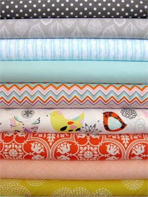 Fabricworm Custom Bundle, Birdie's Day Out in FAT QUARTERS, 9 Total