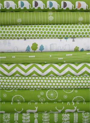 Fabricworm Custom Bundle, Birch Sampler, Grass in FAT QUARTERS 10 Total