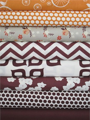Fabricworm Custom Bundle, Birch Sampler, Orange/Mahogany in FAT QUARTERS 8 Total