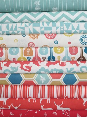 Fabricworm Custom Bundle, Birch Sampler, Pool/Coral in FAT QUARTERS 10 Total