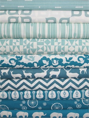 Fabricworm Custom Bundle, Birch Sampler, Pool/Teal in FAT QUARTERS 10 Total