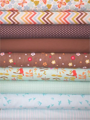Fabricworm Custom Bundle, Blue Jay Way in FAT QUARTERS 9 Total