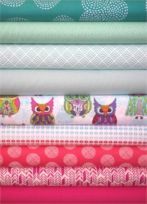 Fabricworm Custom Bundle, Bright Eyes in FAT QUARTERS 9 Total