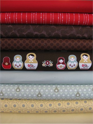Fabricworm Custom Bundle, Bundled Up Matroyshkas in FAT QUARTERS 9 Total