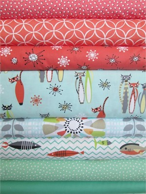 Fabricworm Custom Bundle, Cat's Out of the Bag in FAT QUARTERS 8 Total