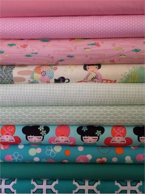 Fabricworm Custom Bundle, China Girl in FAT QUARTERS 10 Total