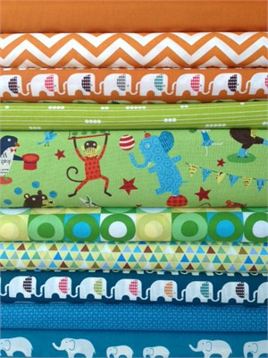 Fabricworm Custom Bundle, Circus Shenanigans in FAT QUARTERS 10 Total