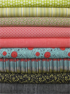 Fabricworm Custom Bundle, Colorful Outing in FAT QUARTERS 9 Total