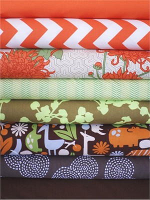 Fabricworm Custom Bundle, Cocoa Safari in FAT QUARTERS, 8 Total (Pre-cut)