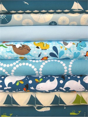 Fabricworm Custom Bundle, Deep Blue Sea in FAT QUARTERS 8 Total