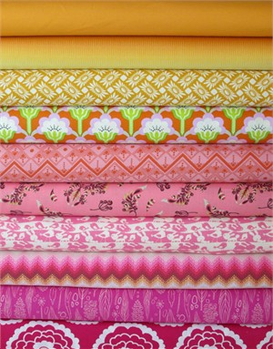 Fabricworm Custom Bundle, Desert Sunrise in FAT QUARTERS 10 Total
